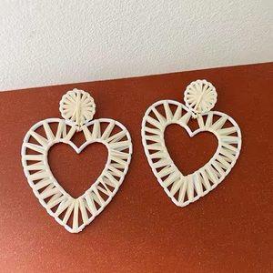 Anthro BaubleBar Raffia Heart Earrings